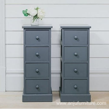 Pair of Tall Bedside Tables 4 Drawers Slim Wood Bedroom